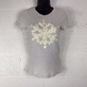 J.Crew Sz S T-shirt with Snowflake Appliqué
